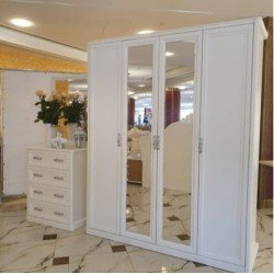 Четырехдверный белый шкаф Белла ( Роял)