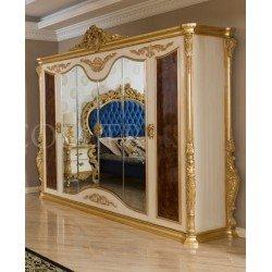 Элитный деревянный белый шкаф с золотой патиной Квин в стиле барокко