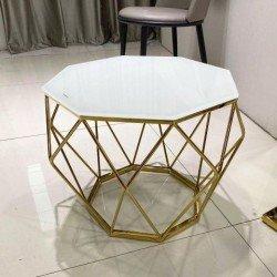Белый столик на золотой ноге Перфект