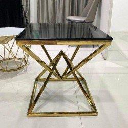 Журнальный квадратный столик Фридом с золотой ногой