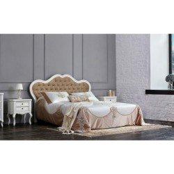 Двухспальная деревянная кровать 1800 с мягким изголовьем Адель