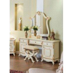 Кремовый туалетный столик с зеркалом и пуфом Венеция