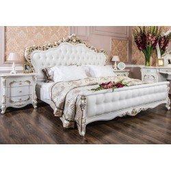 Светлая двухспальная кровать 1800 с мягким изголовьем Афродита