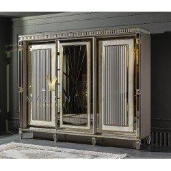 Белый классический шкаф с зеркальными фасадами Стамбул
