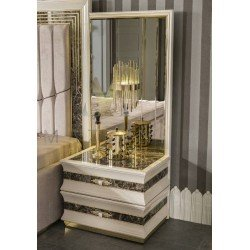 Прикроватная тумбочка с зеркальным панно и светильником для спальни Лексус MAZ