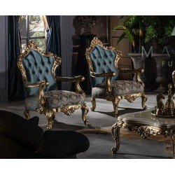 Золотое кресло в голубой ткани Маркус