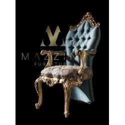 Классический большой стул с подлокотником в золотой патале Маркус