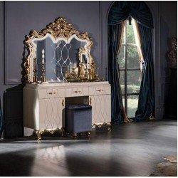 Белый туалетный столик с зеркалом в стиле барокко Рома