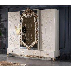 Белый шкаф с резным зеркалом в стиле барокко Рома