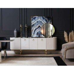 Белый буфет с зеркалом в гостиную Белла