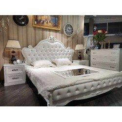 Белая кровать 1800 с подъемным механизмом Роял в классическом стиле