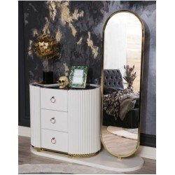 Белый комод с зеркалом Белла