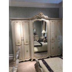 Шестидверный резной белый шкаф Флоренция 8299, Китай
