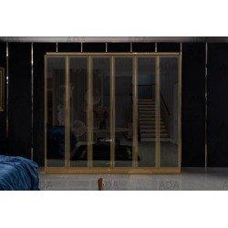 Черный глянцевый шкаф с золотой отделкой Мун (MOON)