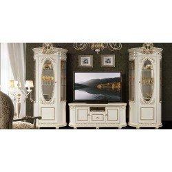 Белая стенка в гостиную с золотыми коронами Виола