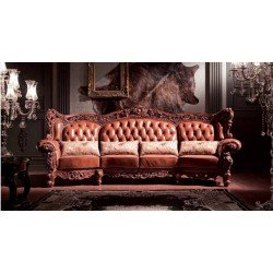 Большой диван из дерева и кожи Александрия ( Карпентер 228), Испания