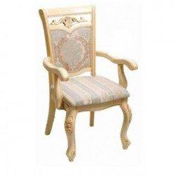 Белый классический стул с подлокотником 8001 DP, обивка N
