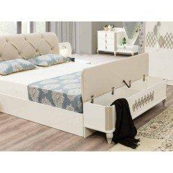 Белая кровать 1800 с мягким изголовьем в стиле модерн Эстела, Турция
