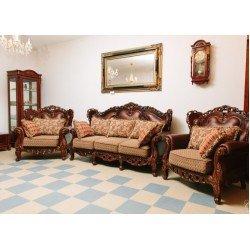 Коричневый резной диван с креслами София