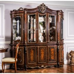 Коричневая пятидверная витрина Джоконда в стиле барокко