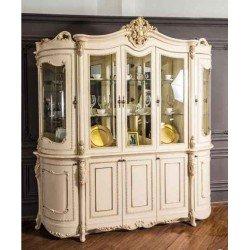 Белая витрина в стиле барокко на пять  дверей Джоконда