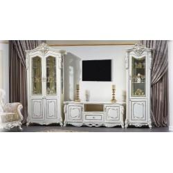 Витрины в гостиную Джоконда в белом цвете с золотой патиной