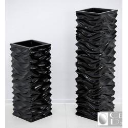Черные квадрантые напольные вазы кашпо