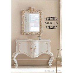 Белая тумба в ванную Мерлин с золотой патиной