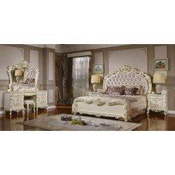Белая двухспальная кровать Равенна в стиле барокко, Китай
