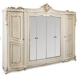 Классический шестидверный шкаф в стиле барокко Клеопатра в цвете крем