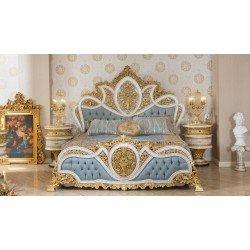 Элитная резная кровать София с голубым изголовьем