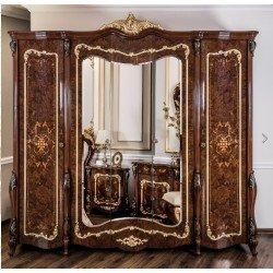 Пятидверный шкаф для одежды Версаль в цвете орех караваджо