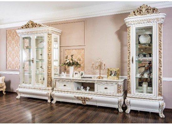 Белая стенка для гостиной Лувр в стиле барокко