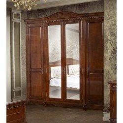 Классический ореховый шкаф с зеркалом для спальни Карина