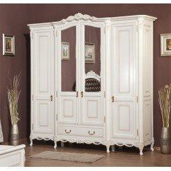 Белый четырехдверный шкаф для спальни Флора, Румыния