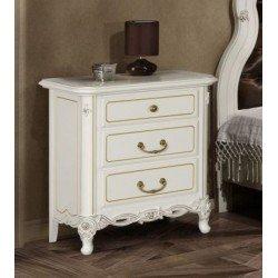 Белая деревянная тумбочка прикроватная для румынской спальни Флора