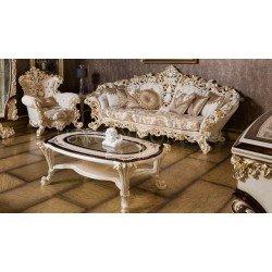 Классический белый диван с креслами в стиле барокко Рива