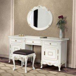 Белый резной туалетный столик для спальни Флора