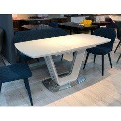 Белый раскладной стол со стеклянной столешницей Асти