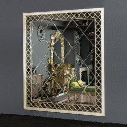 Декоративное зеркало в белой резной раме Вип