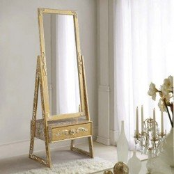 Большое прямоугольное зеркало Дикле в золотой патине