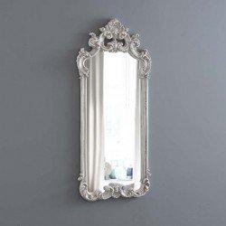 Высокое прямоугольное зеркало с короной Сад в серебрянной раме