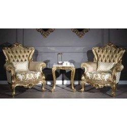 Золотая чайная мебель Мария в стиле барокко, чайная группа