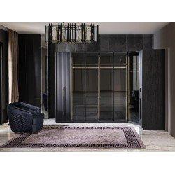 Угловой шкаф в стиле АРТ-Деко серого цвета Лион