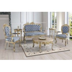 Золотой набор чайной мебели Лиза ( Диван, кресла, столики)