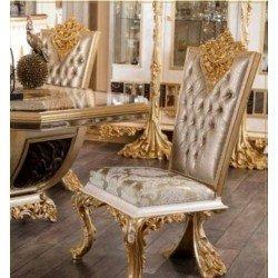 Элитный золотой стул с резной короной Драпп