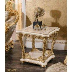 Приставной белый столик с зеркалом в стиле барокко Драпп