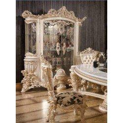 Белая резная витрина в стиле барокко Элит