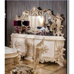 Большой белый буфет в столовую Элит в стиле барокко