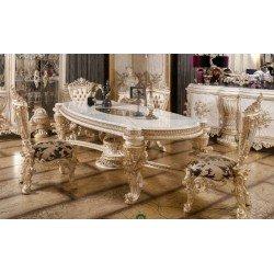 Белый резной собеденный стол Элит в стиле барокко
